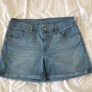 Levi's Light Wash Denim Cuffed Shorts
